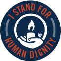 GOA Badge: I stand for human dignity (blue)