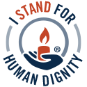 GOA Badge: I stand for human dignity (white)
