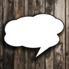 speech bubbles on wooden background